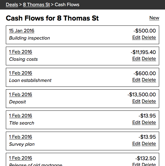 Cash Flows Listing