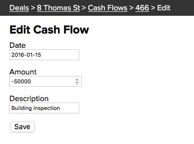 Edit Cash Flow